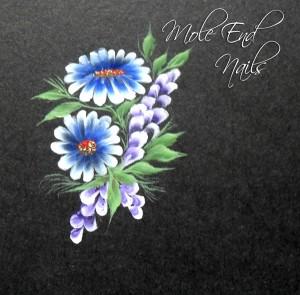 Onestroke blue flowers