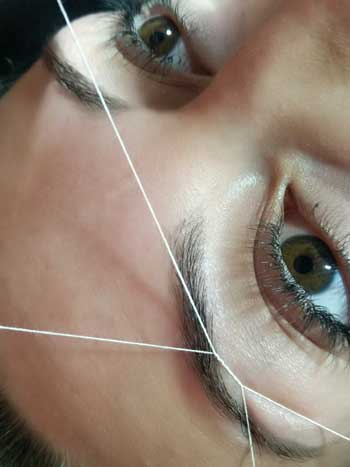 Eyebrow threading mole end design