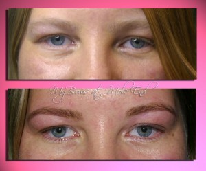 Tinted and threaded brows