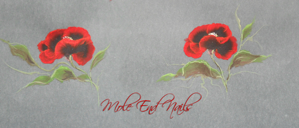 Onestroke Poppies painted on parchment