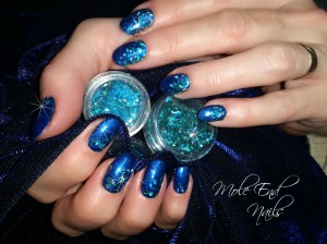 Deep blue nails with glitter at Mole End Design