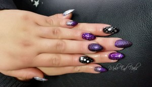 Purple and silver matte and gloss nails