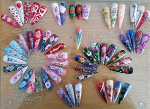 Nail swatches and nail art created at Mole End Design