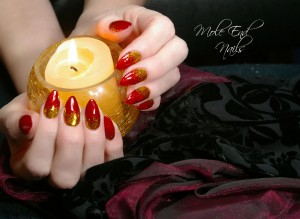 Classic Red with gold burnished glitter for a festive look