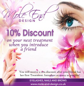 Discount when you introduce a friend for treatments at Mole End Design