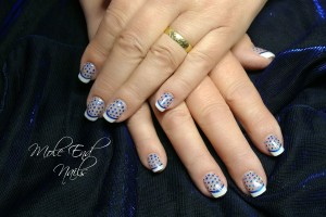 Acrylic French with metallic smile line and dots to match