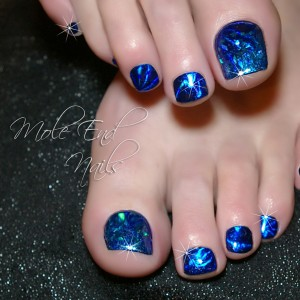 Foil over Shellac with added glitter