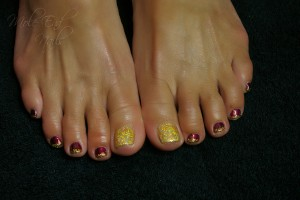 Gelish My Forbidden Love with Gold Glitter embellishments
