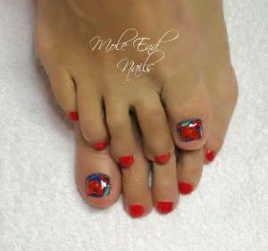 Rebuilt toenails with poppy design