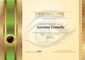 World Association of Lash Artistry and Development Certificate