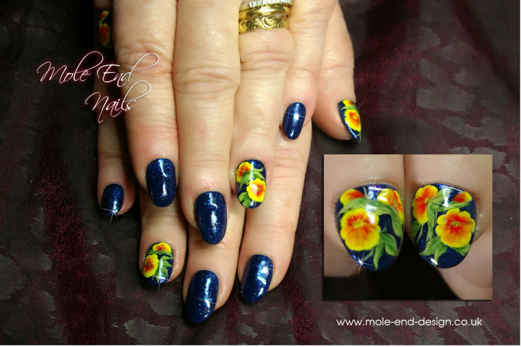 Gelish with Handpainted pansies ready for Spring