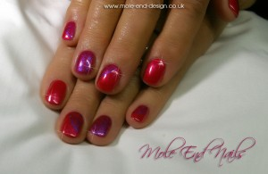 Shellac Hot Chillies with Azure stamping over 3 nails