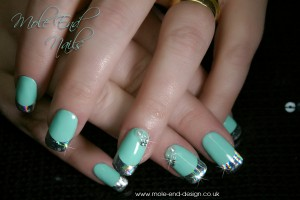Tiffany coloured nails with foil accents