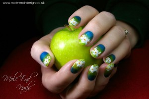 Shellac with Additives and handpainted daisies - Click to enlarge