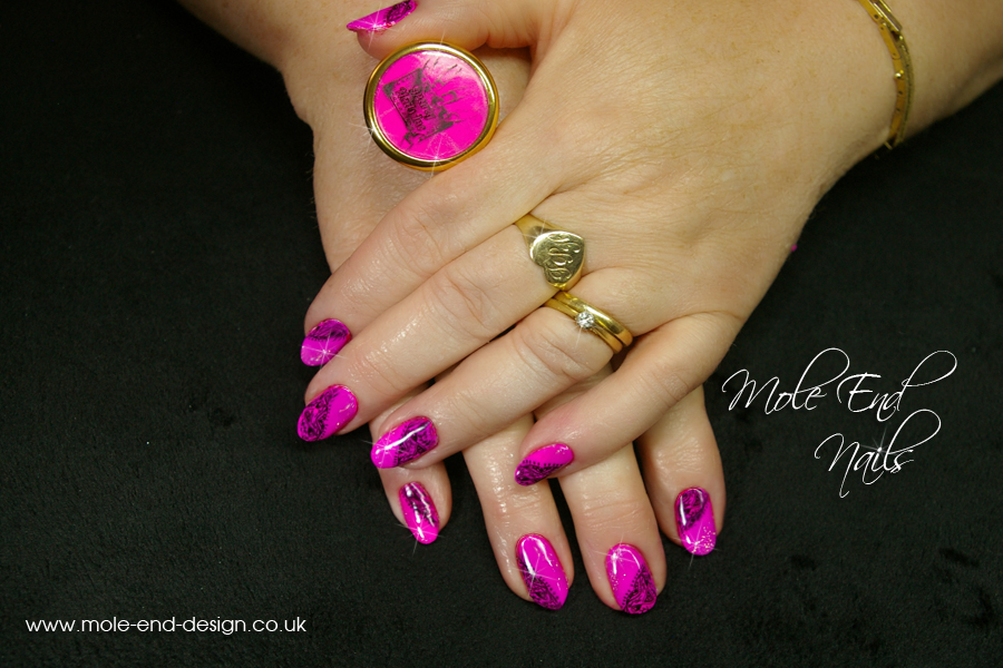 Neon Pigment with DRK Enlaced Stamping and Gelish Waterfield for added sparkle