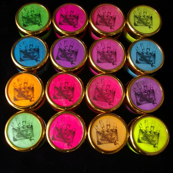neon and sorbet pigments in jars