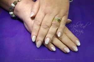 Clear natural nails with painted white roses
