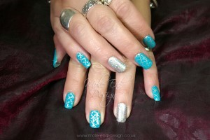 Glitter and jigsaw stamped nails