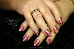 Ink 2 tone with stamping and handpainted swirls