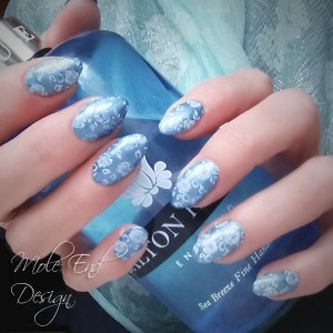 Metallic Blue Ink with Stamping