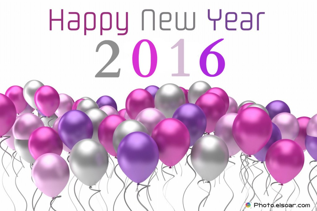 Happy new year 2016 flying colorful balloons