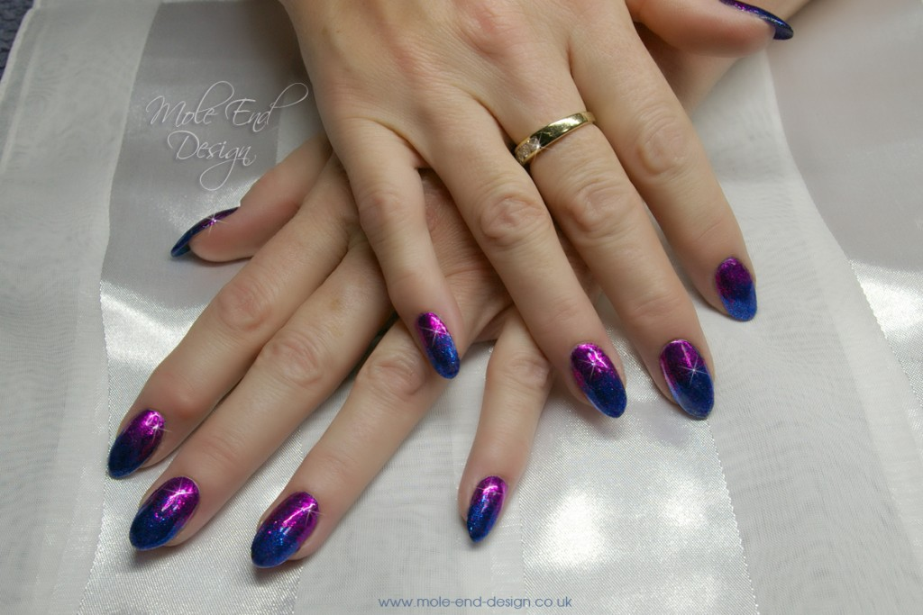 Pink and blue glitte fade