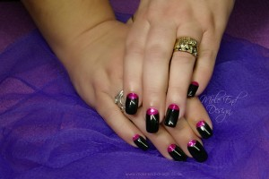 Black Gel Polish with pink lunulas