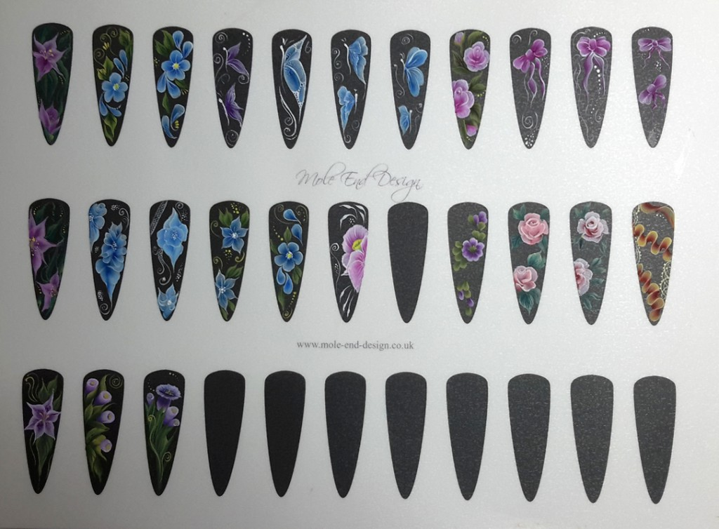 One stroke sample nails sheet