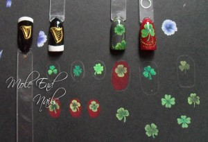 Nail swatches of Shamrocks and Guinness
