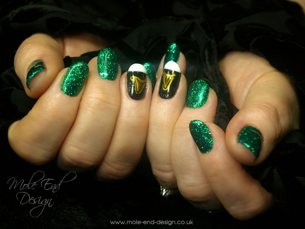 St patrick's day nails with guinness