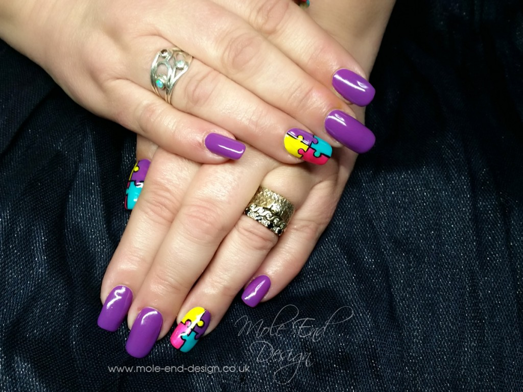 Autism aware nails
