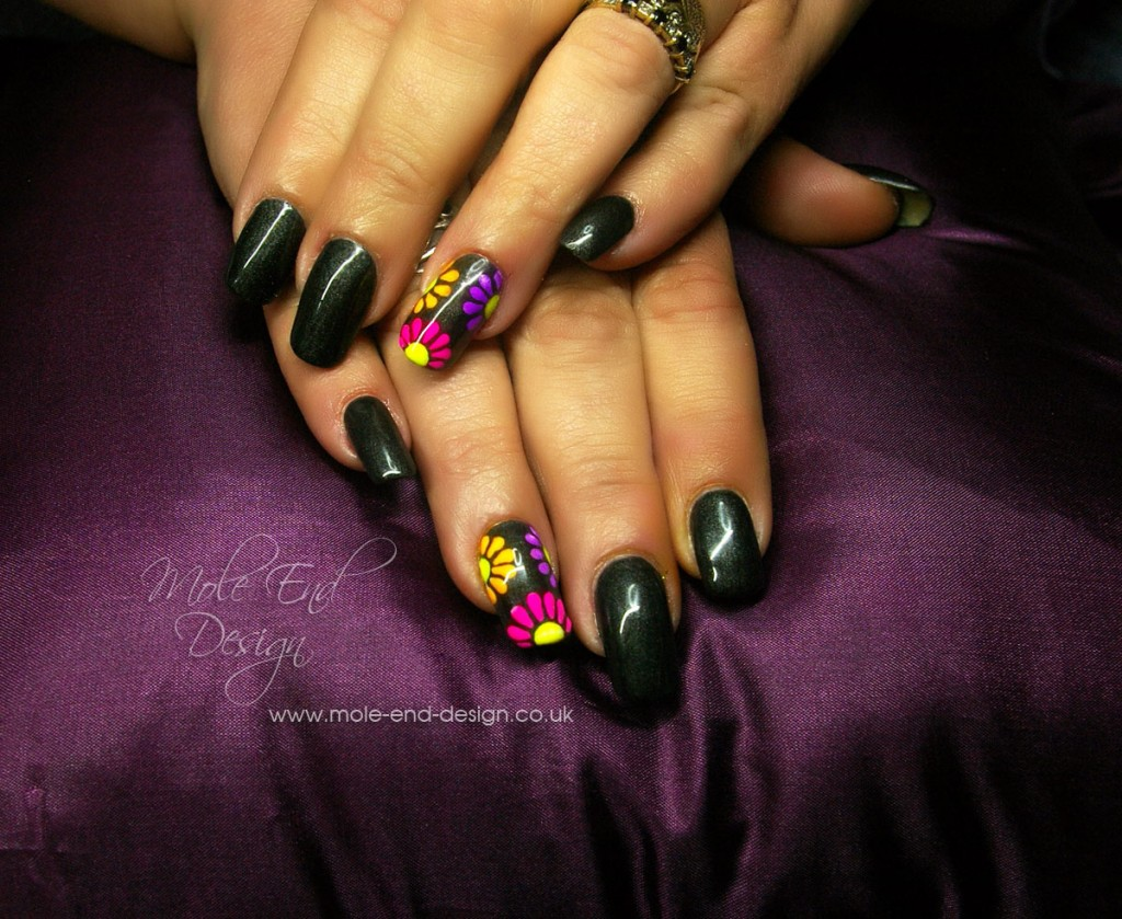 Black Gel Polish with Neon Pigments