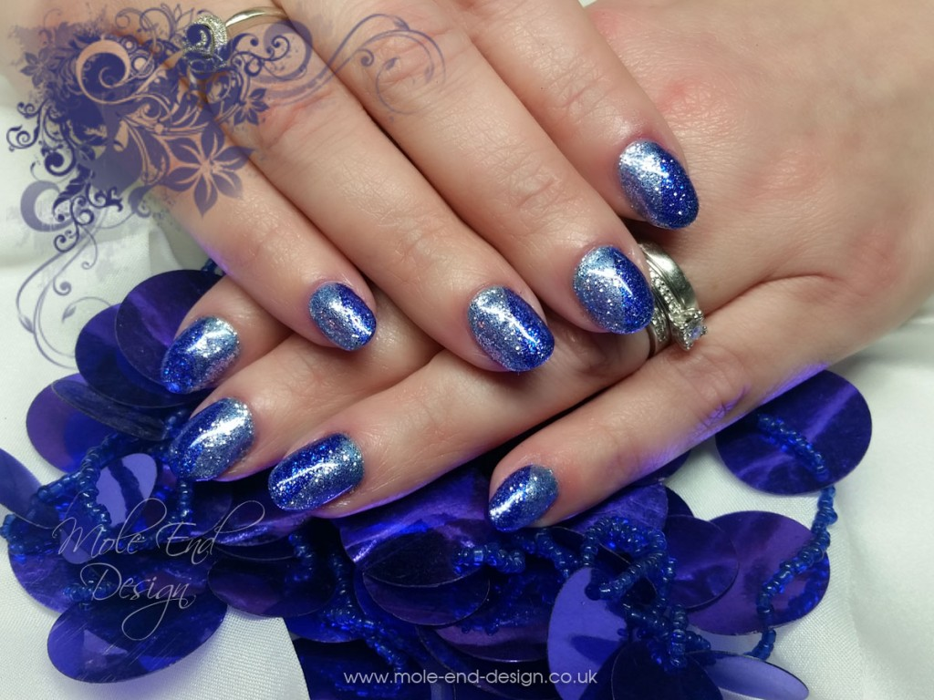 Silver and Blue Diagonal Design with Glitter
