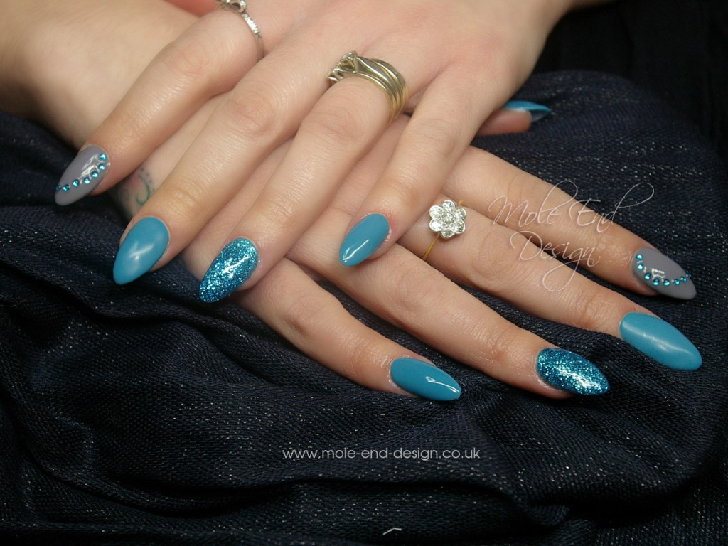 Teal and Grey with Turquoise Rockstar Nails and Diamantes
