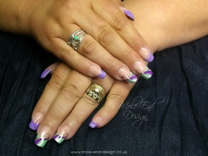 Reverse French Acrylic Overlay turquouse and lilac with swirls