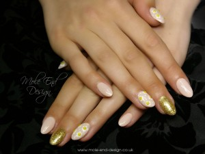 Nude Gel Polish over Acrylic Enhancements with Daisies and glitter