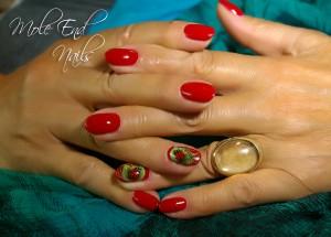 Ladybug shellac nails