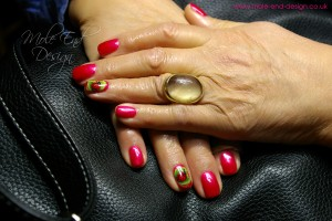 Shellac with ladybird nails