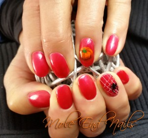 Halloween Nail Art - pumpkins and spiders webs