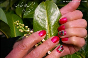 Ladybird Nail Art on a leaf