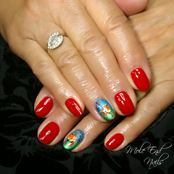 Handpainted Robins on a twig nail art