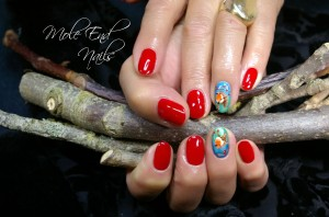 Handpainted Robins on a twig nail art holding twigs