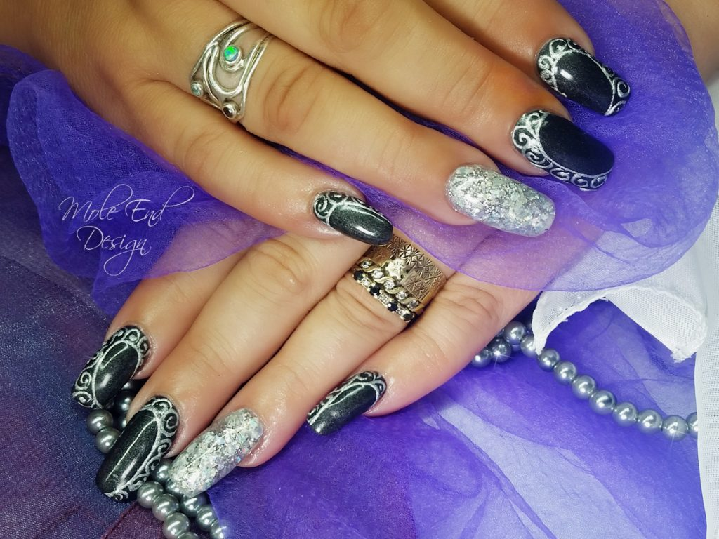 Gelish with 3d silver gel and glitter on purple