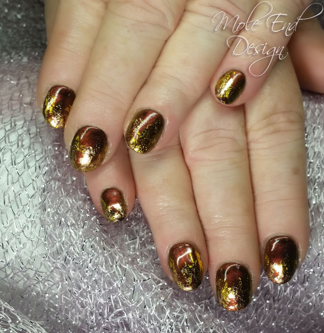 Illumina gel with bronze and gold foil