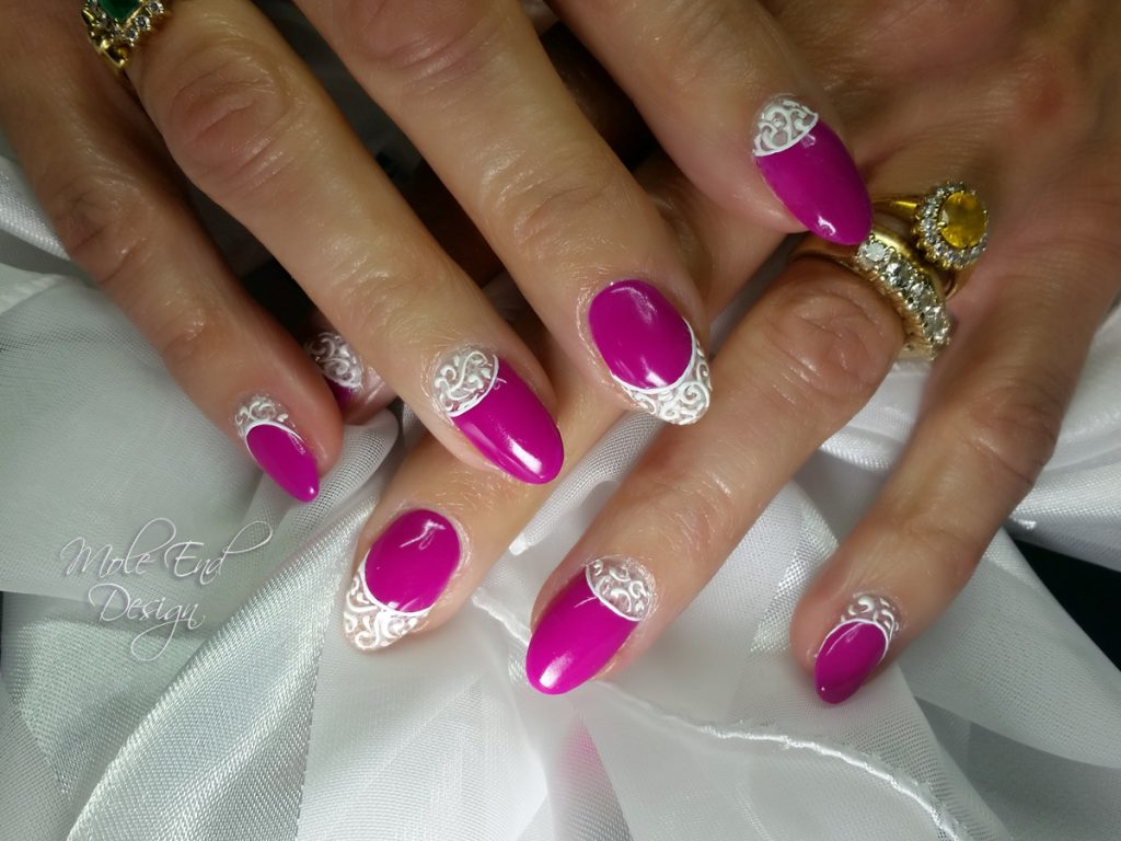 Gelish Tahiti Hottie with 3d designer gel detail on all nails