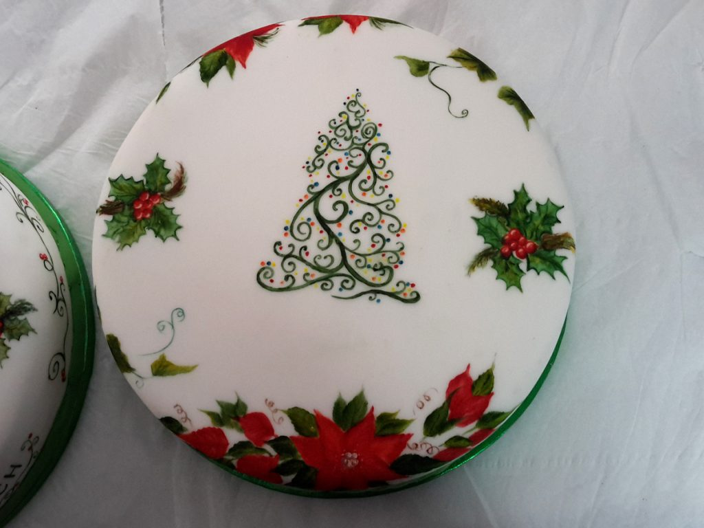 Top view of swirly one stroke christmas cake