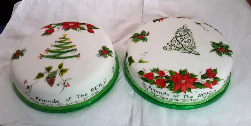 The finished One Stroke Christmas Cakes