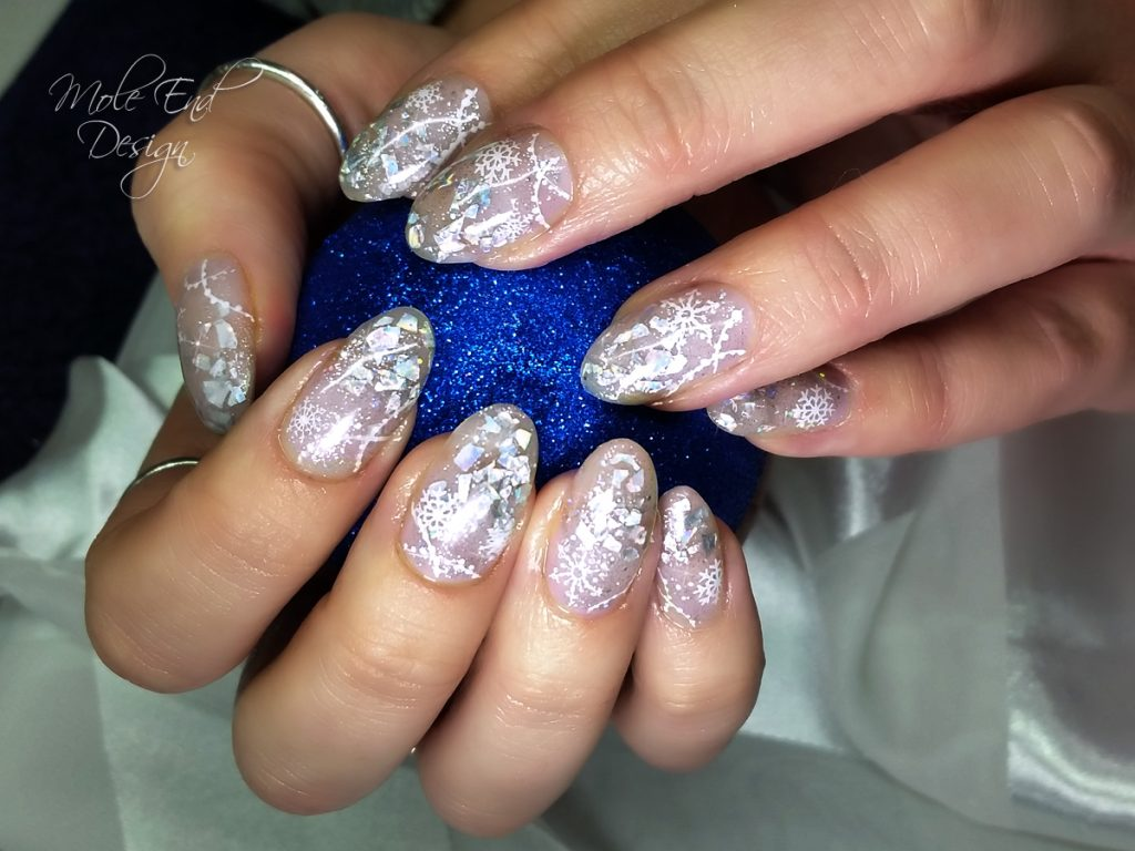 Acrylic frost with stamping and hand painted icicles