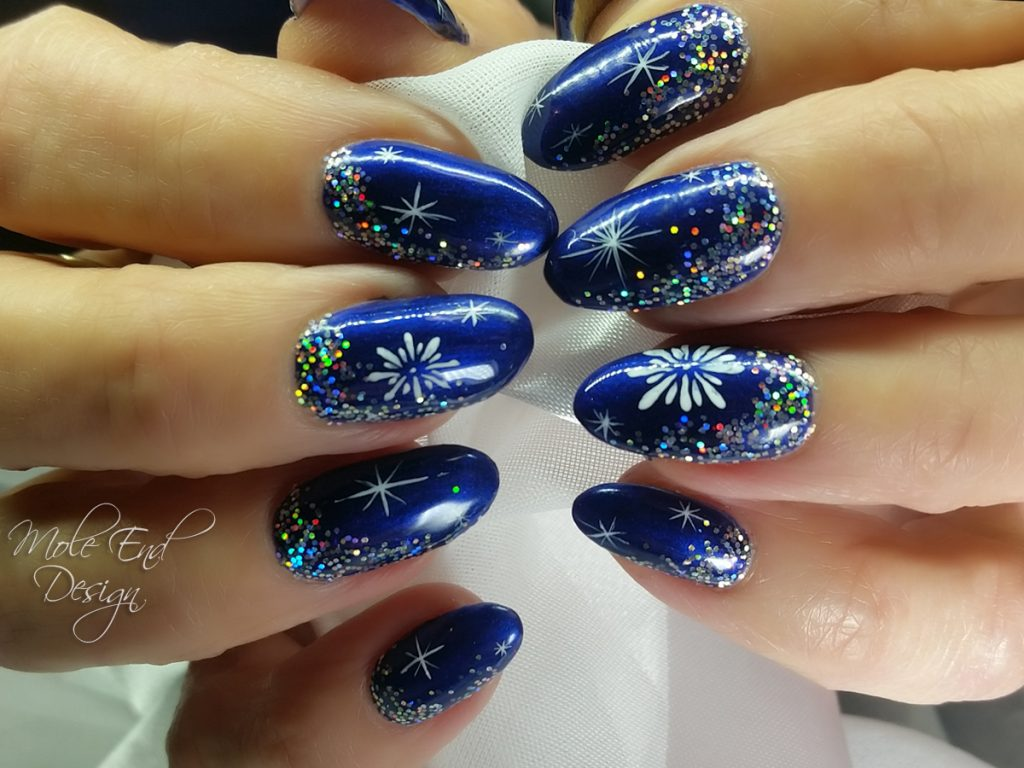 ink london with glitter and handpainted 3d gel xmas nails - Blue Christmas Nails