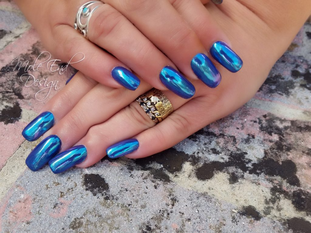 Blue chrome effect nails